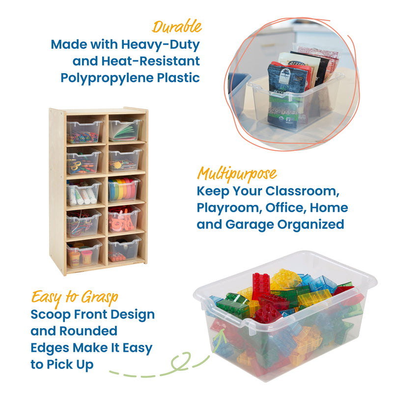 Scoop Front Storage Bins, Cubby Compatibile, 30-Pack
