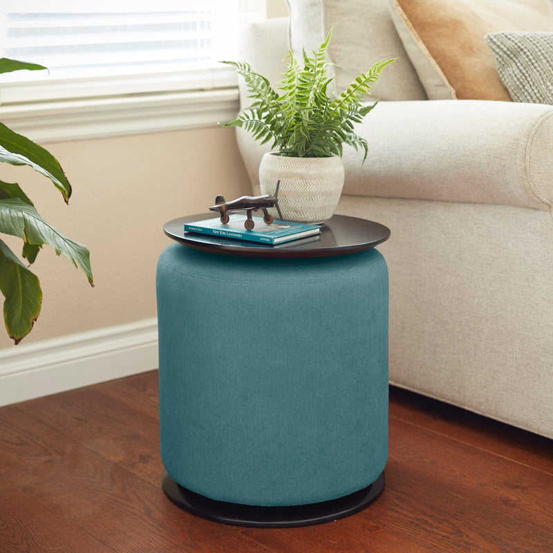 Accent Table with Nesting Lightweight Ottoman, Versatile Round Footstool and Side Table Set