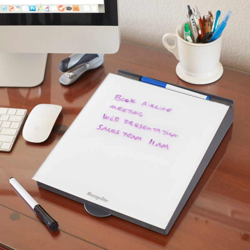 Dry-Erase Memo Station, Desktop Whiteboard with Storage and Built-In Organizer