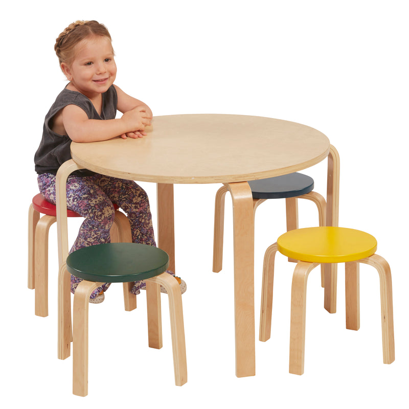 Bentwood Stool and Table Furniture Set, Premium Kids Set for Homes, Daycares and Classrooms