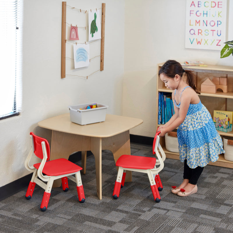 Resin Adjustable Classroom Chairs, Plastic Indoor Kids Seating for Schools, Daycares, Homes, Adjustable Seat Height