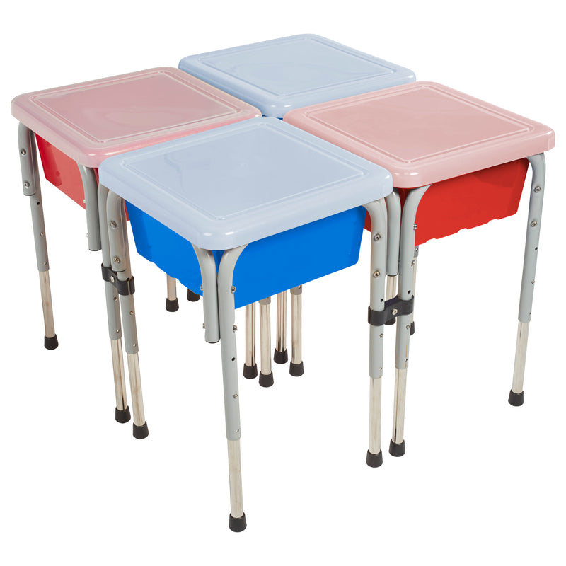 4-Station Sand and Water Adjustable Activity Play Table Center with Lids, Square - Red/Blue