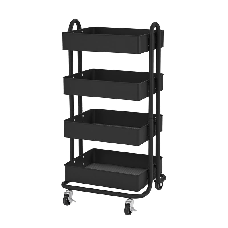 4-Tier Heavy-Duty Rolling Utility Cart, Mobile Storage Organizer - Black