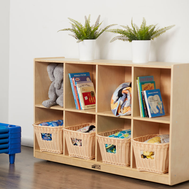 8-Compartment Storage Cubby Unit, Eco-Friendly Birch Plywood Shelving - Natural