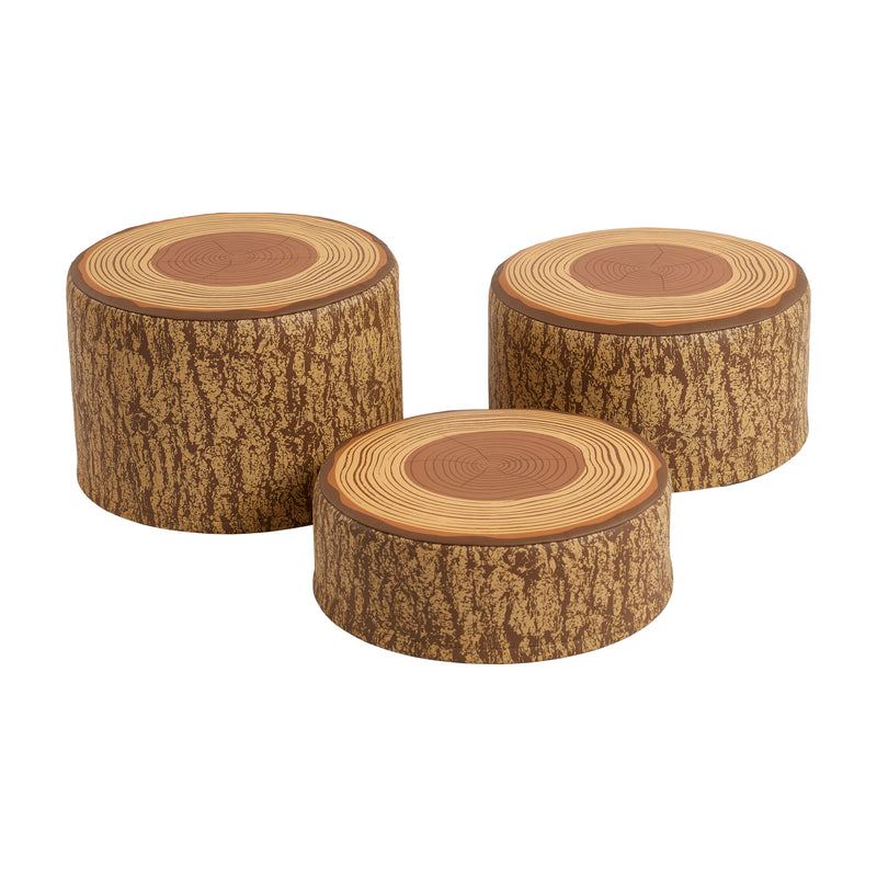 Tree Stump Stool Set, Round Foam Stools for Kids with Decorative Log Design, 3-Piece Set