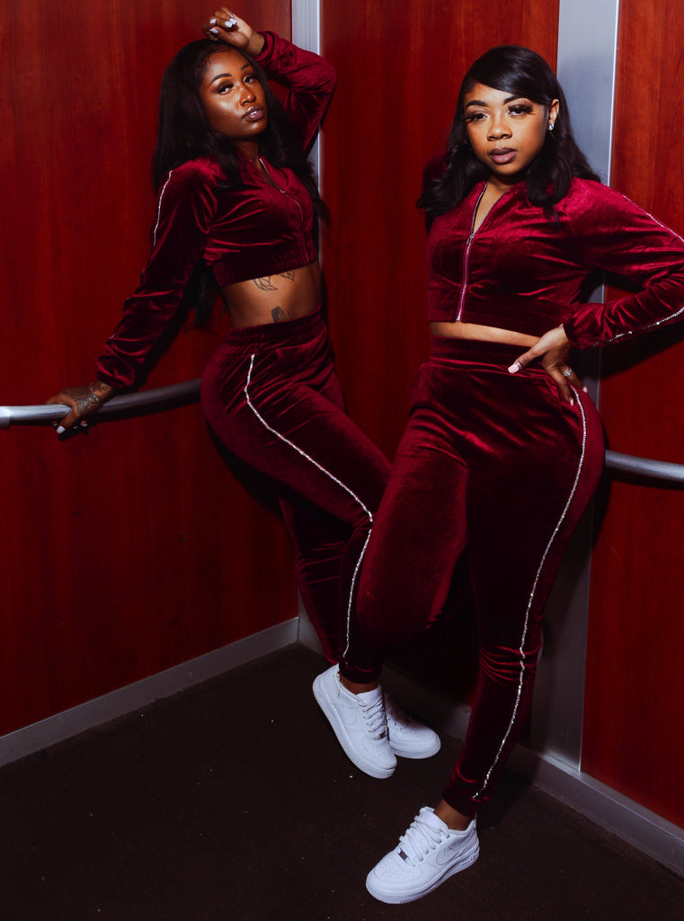 RED VELVET - Rhinestone Trim Sweatsuit