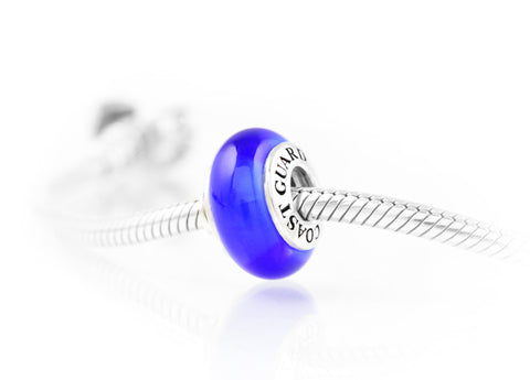 Coast Guard Solidarity® Charm, Exquisite Italian Glass and Sterling Silver