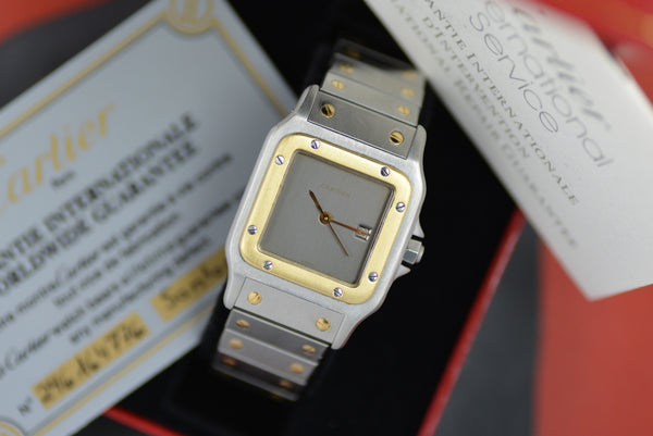 Full Set 1983 Cartier Santos Onyx Grey Dial