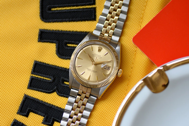"1960 Rolex Datejust Early ""Coffin"" Gold Dial 1601"