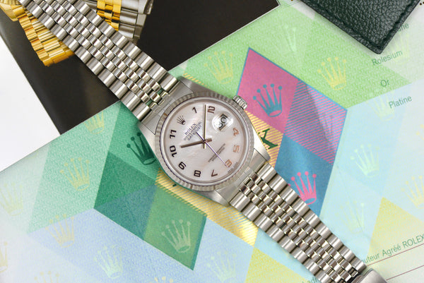Full Set 2002 Rolex Oyster Perpetual Datejust Mother of Pearl Dial 16234