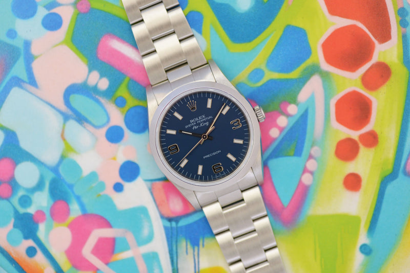 "NOS 1996 Rolex Oyster Perpetual Air-King Precision ""Blue"" 14000M"