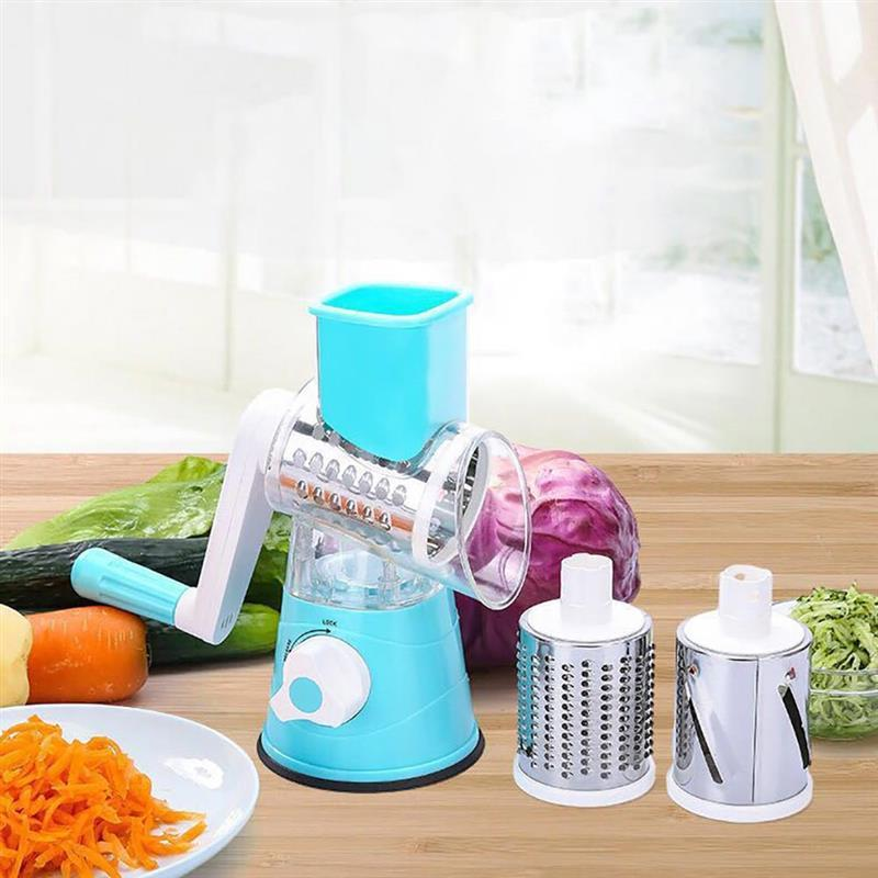 Vegetable Cutter Round Mandoline Slicer Potato Carrot Grater Slicer With 3 Stainless Steel Chopper Blades Kitchen Tool