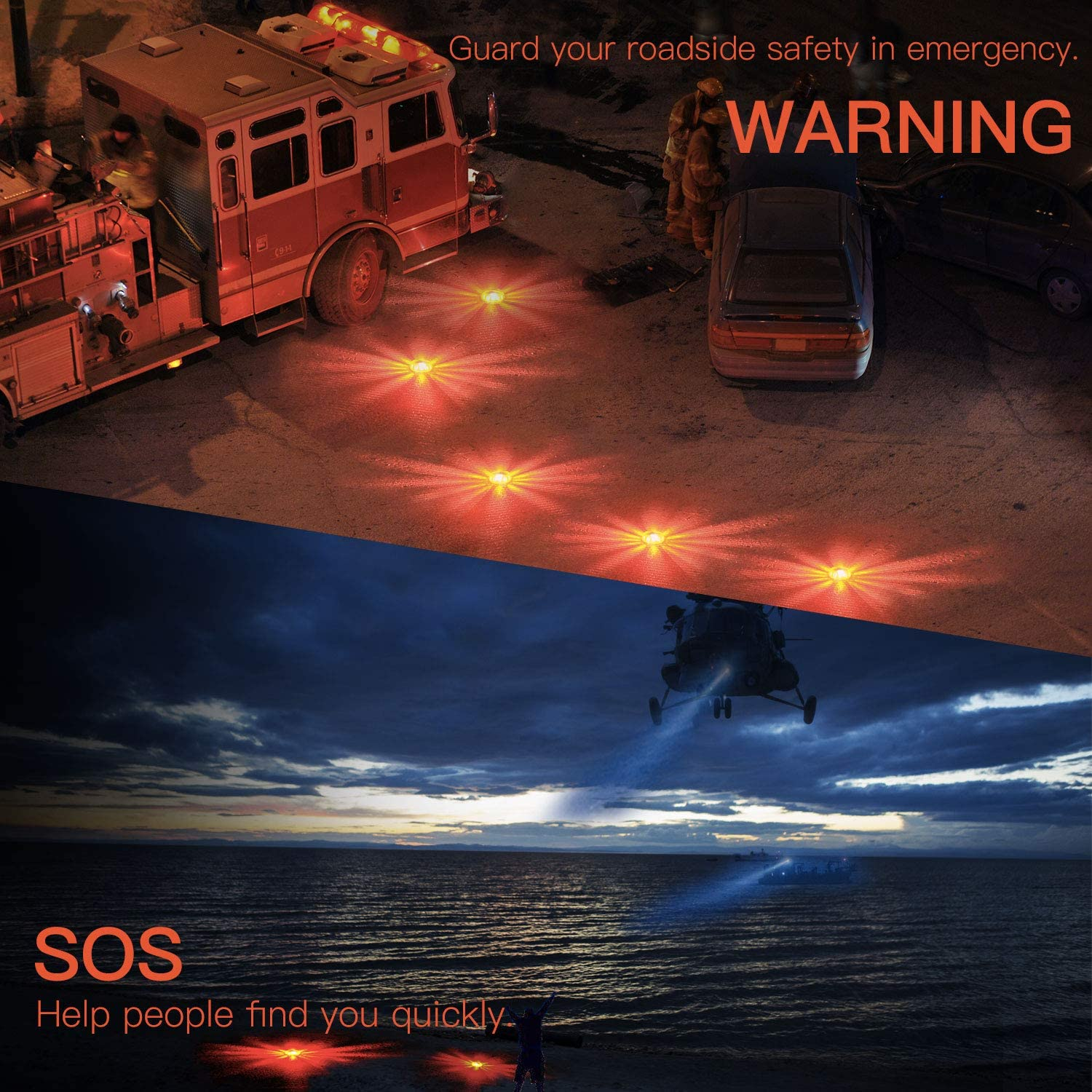 LED road flares, flashing warning lights-waterproof and fall resistant strong light safety lights