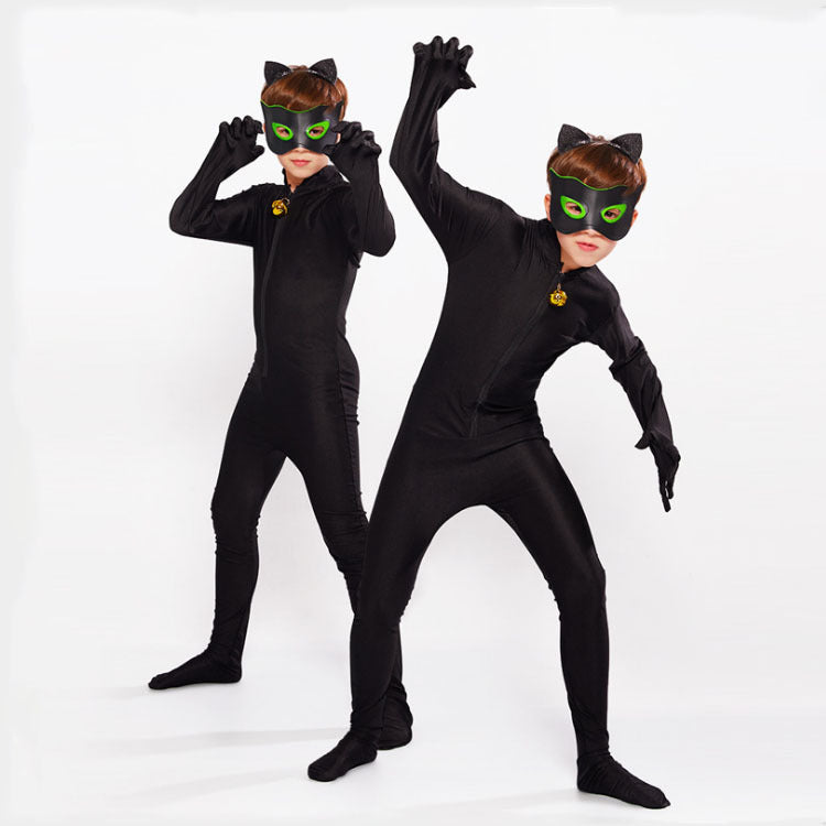 Hot Carnival Clothing Cat Noir Cosplay Sets Lady Halloween Christmas Party Custume Jumpsuit Kids Girls Suit
