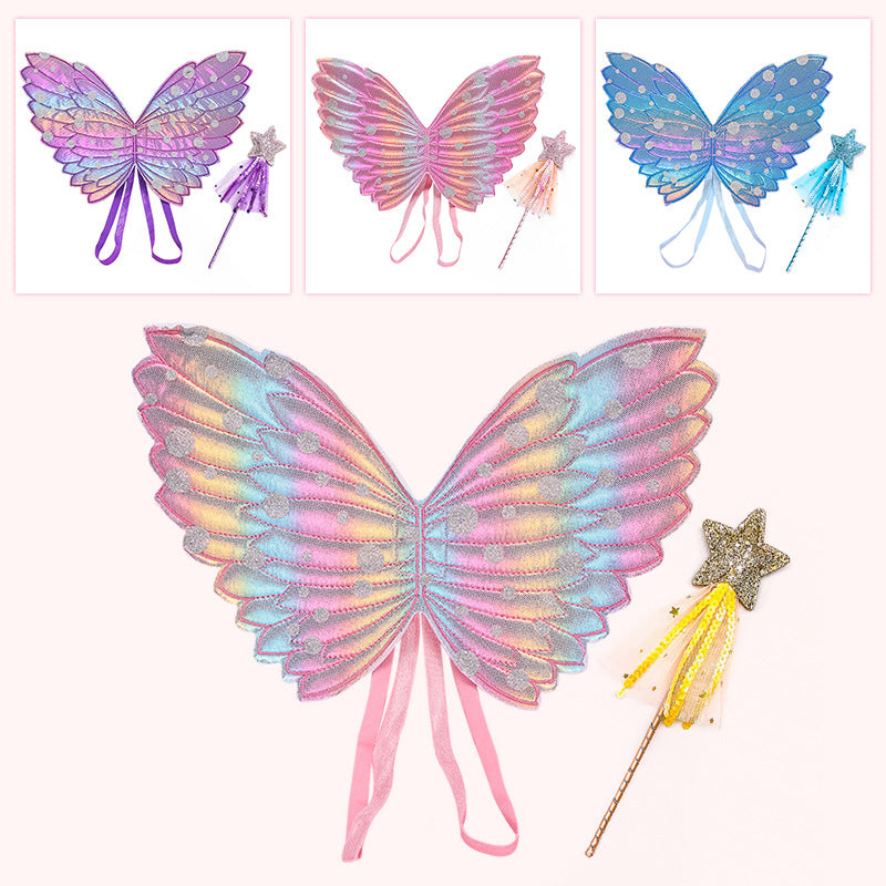 Kids Wings Wands Butterfly Rainbow Wings For Girls Princess Fairy Wings Children Halloween Cosplay Costume Accessories
