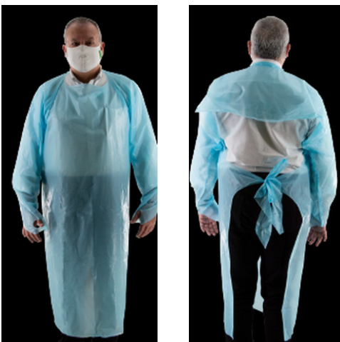 CPE Disposable Isolation Gowns - Pack of 10 ($1.00 per Gown)