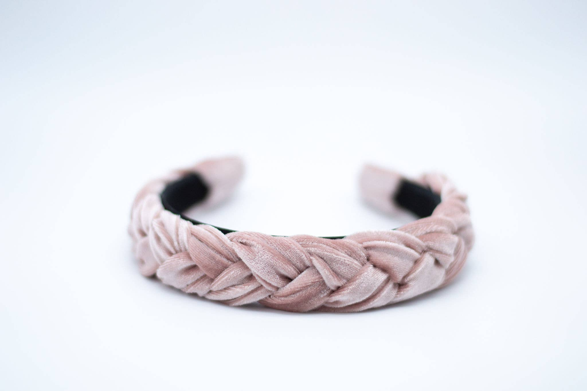 Velvet Braided Headband Pink