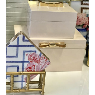 Lacquered Jewellery Box | Blush with Gold Bow - Small