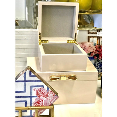 Lacquered Jewellery Box | Blush with Gold Bow - Large