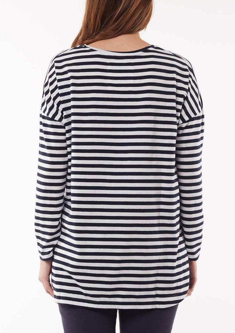 Society Long Sleeve Tee - Navy & White Stripe