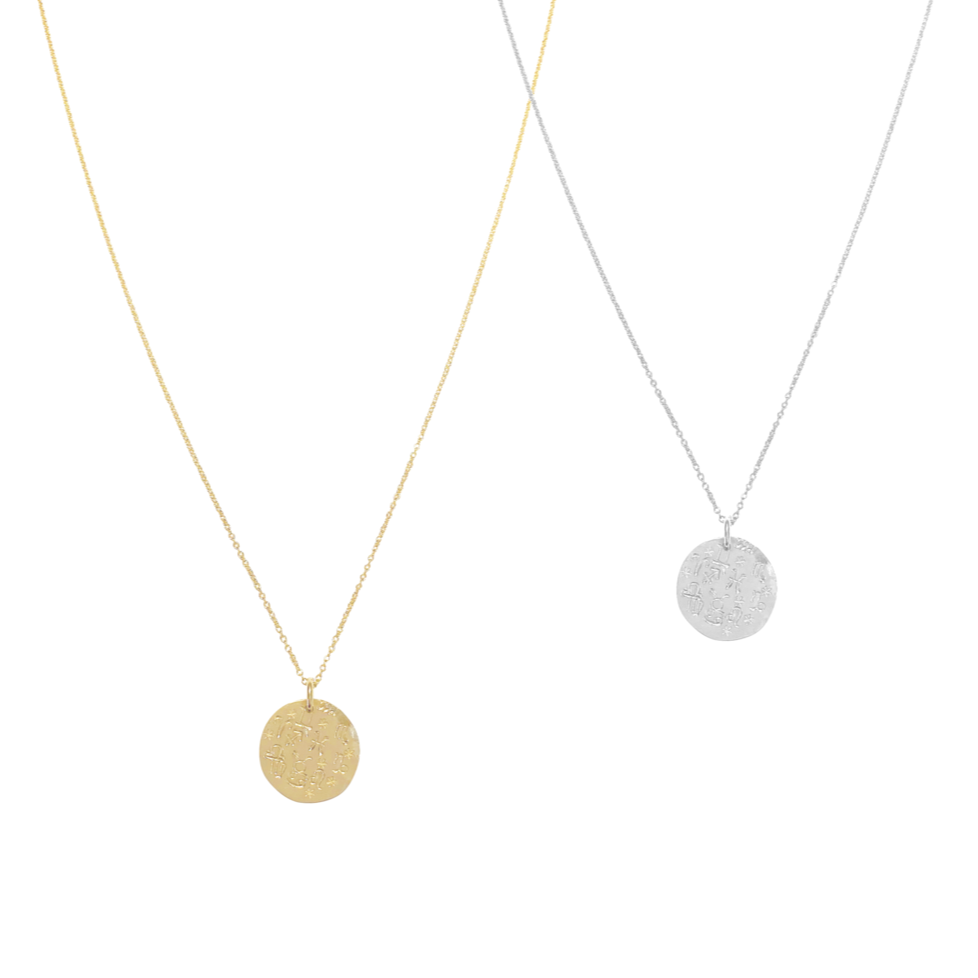 Alex Zodiac Disc Necklace - Gold, Silver