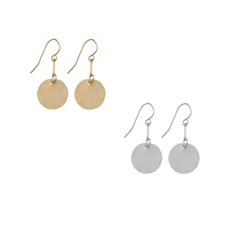 Classic Hammered Disc Earrings on bar - Silver, Gold, Rose Gold