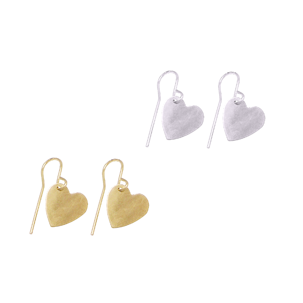 Sweet Heart Drop Earrings - Gold and Silver