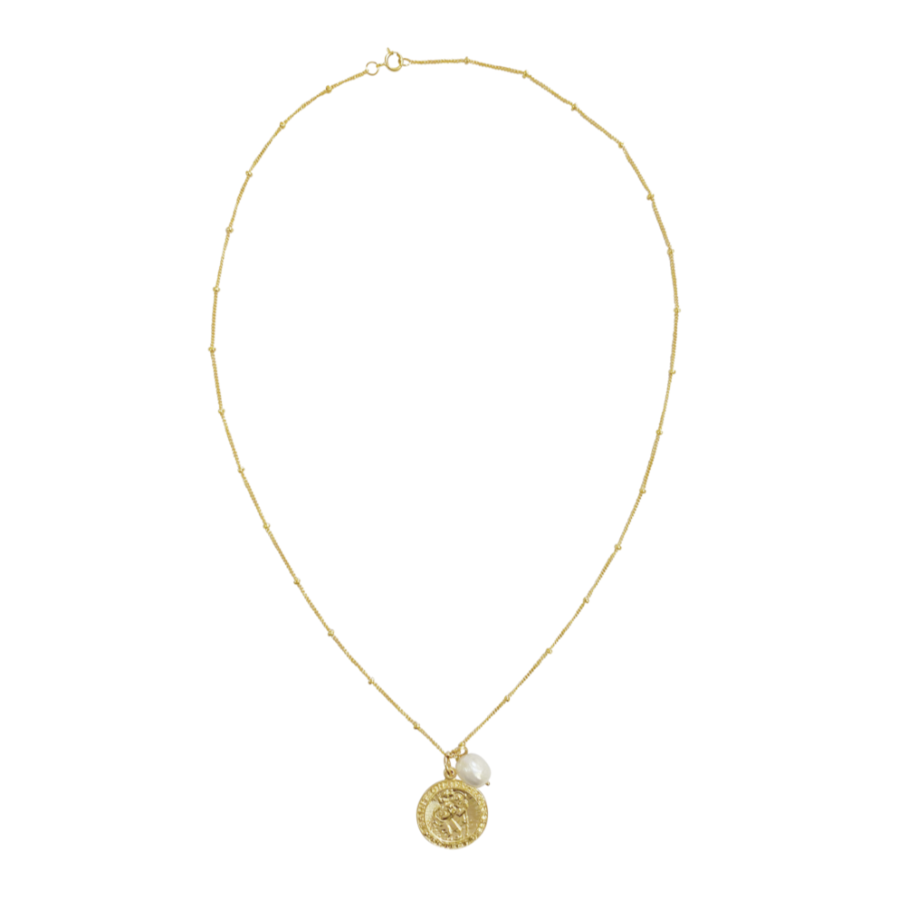 Jada St Christopher and Pearl necklace - Gold, Silver