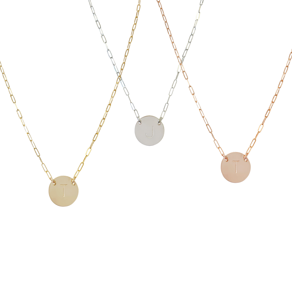 The Kellie Large Initial Necklace - Silver, Gold, Rose Gold