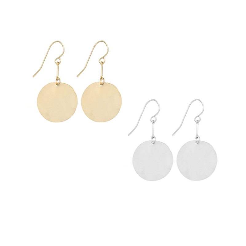 Large Hammered Disc Earrings on bar - Silver, Gold, Rose Gold