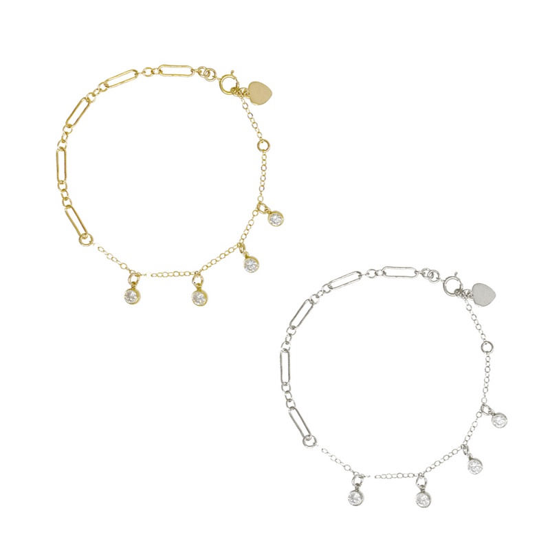 Lola Crystal Drop Bracelet - Gold, Silver