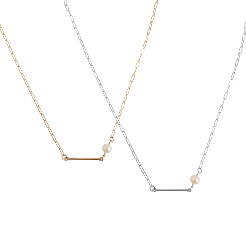 The May Bar and Pearl Necklace - Gold, Silver