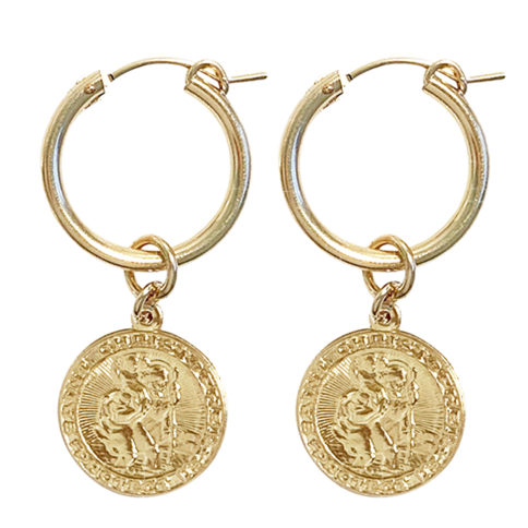 Paris hoop with St Christopher Charm - gold