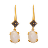 Faceted Rainbow Moonstone & Lolite Gold Plate Earrings