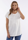 Image of woman in a short sleeved white t-shirt. There is a small cuff on the sleeves. There is also a large white star in the middle of the front of the tee.