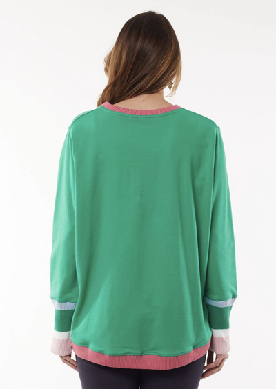 Back image of a woman in a long sleeved green crew. There is a hot pink trim on the crew neck and bottom of the jumper. The long sleeves also have stripes at the bottom that start from bottom third of the arm. The stripes from top to bottom are as follows: thin blue, thick green, thin white and thick baby pink stripe. Bottom of sleeves are elasticised.
