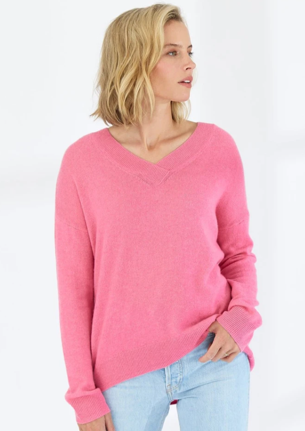 Amelia Crossover Vee Cashmere Sweater - Pink