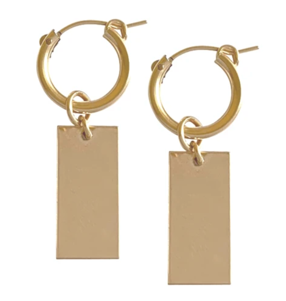 Hoop and Tag Charm Earring - Gold