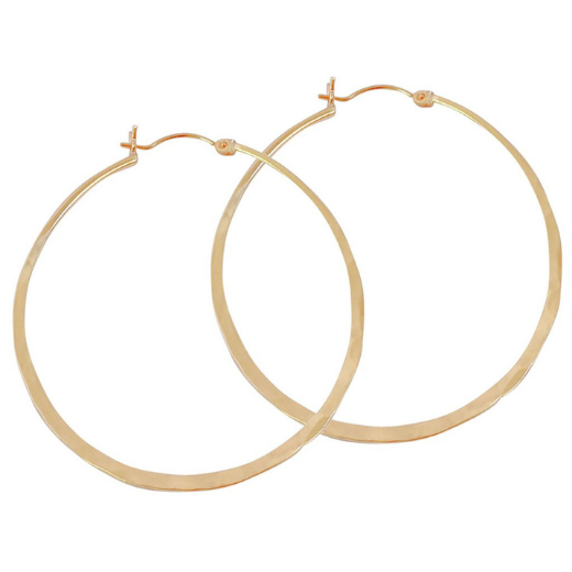 Hammered Hinged Hoop Earrings - Gold, Silver