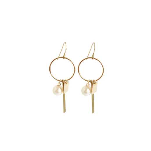 Peru pearl and charm earring - Gold