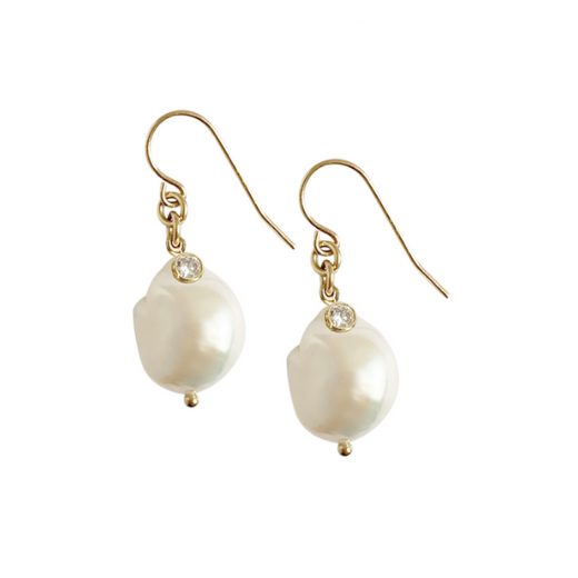 Baroque earring with Pearl and crystal - gold