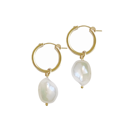 Baroque pearl drop earring - Gold