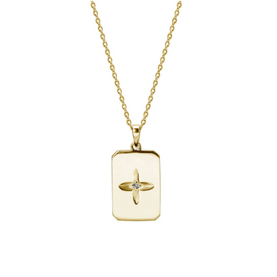 Desert Flower Rectangle Necklace - Gold