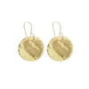 Large Hammered Disc Earrings - Gold