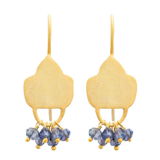 Gold Plate Lolite Shield Earrings
