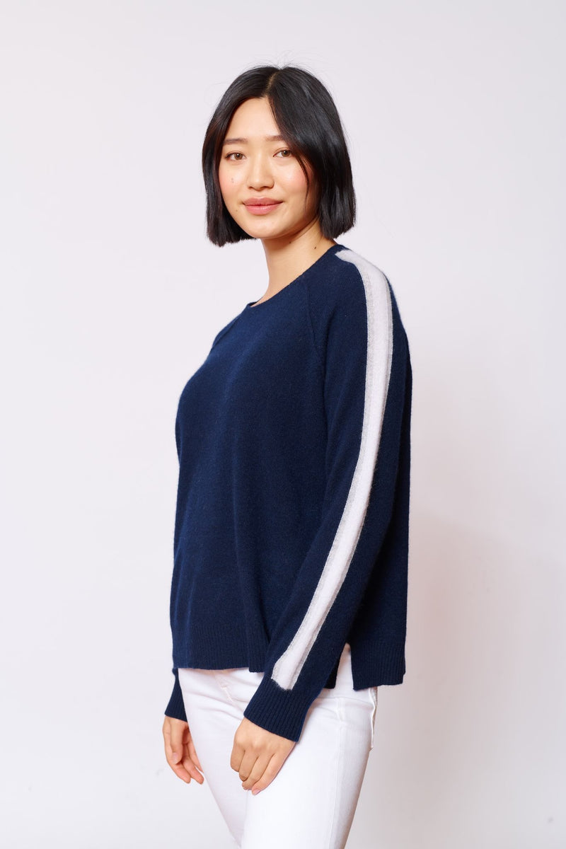 Palais Cashmere Sweater - Navy/White