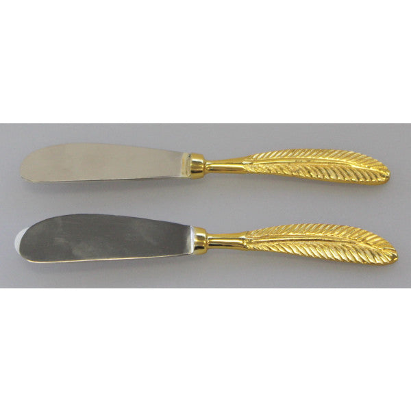 Gold Feathers Spreader - Set of 2