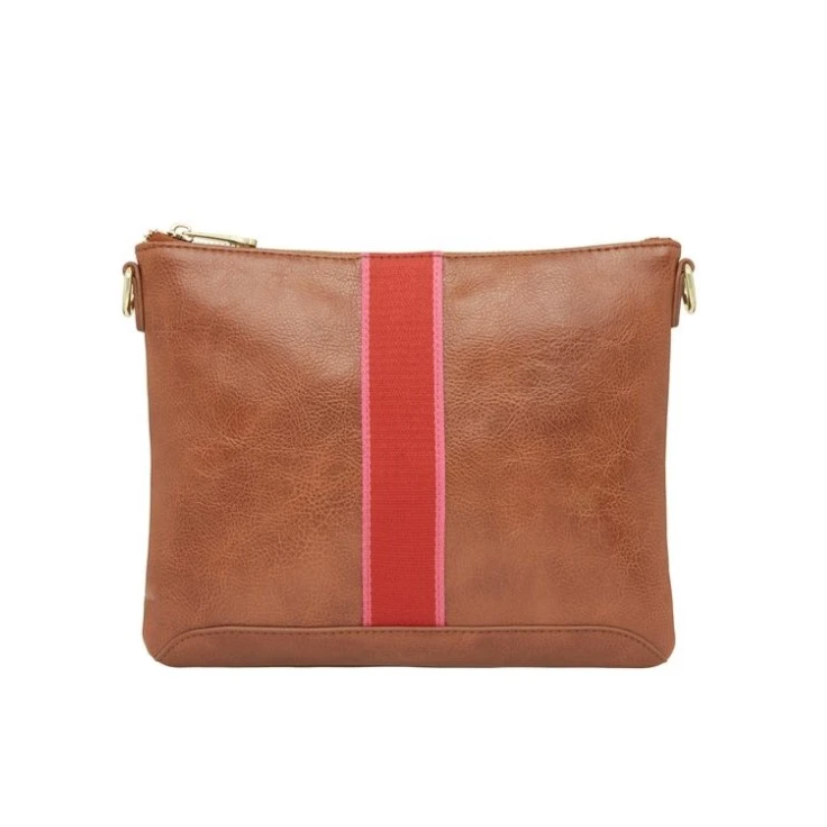 Tan pouch with pink and red stripe down the middle.
