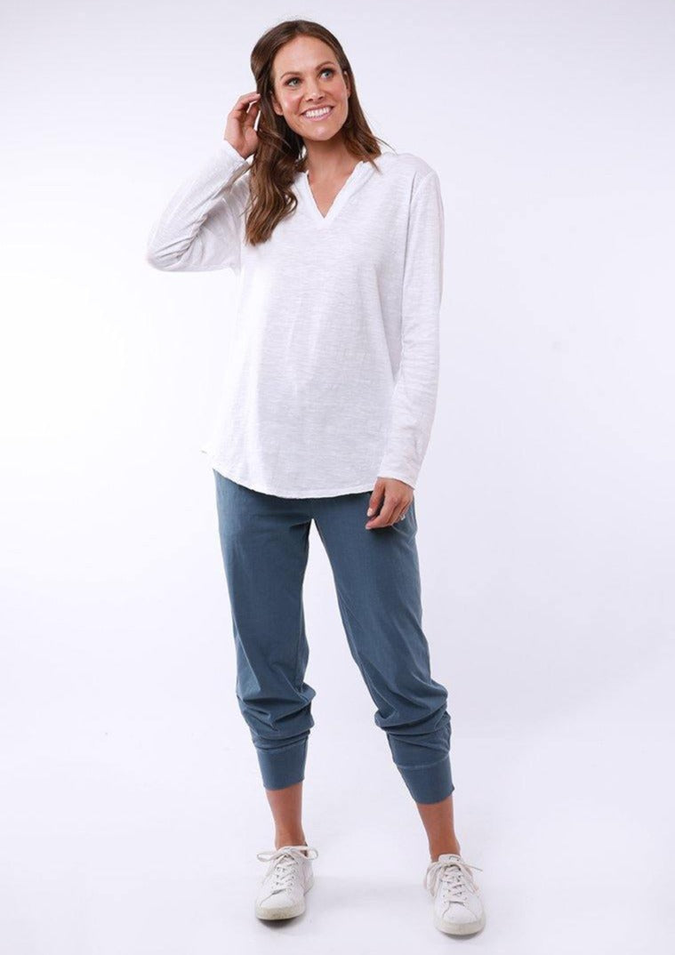 Coles Bay Long Sleeve Henley - White