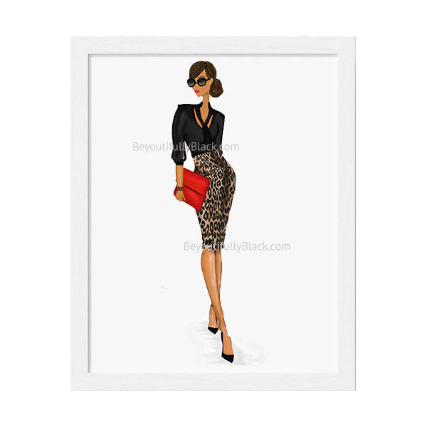 African American, Black Boss Lady Art Print White Frame